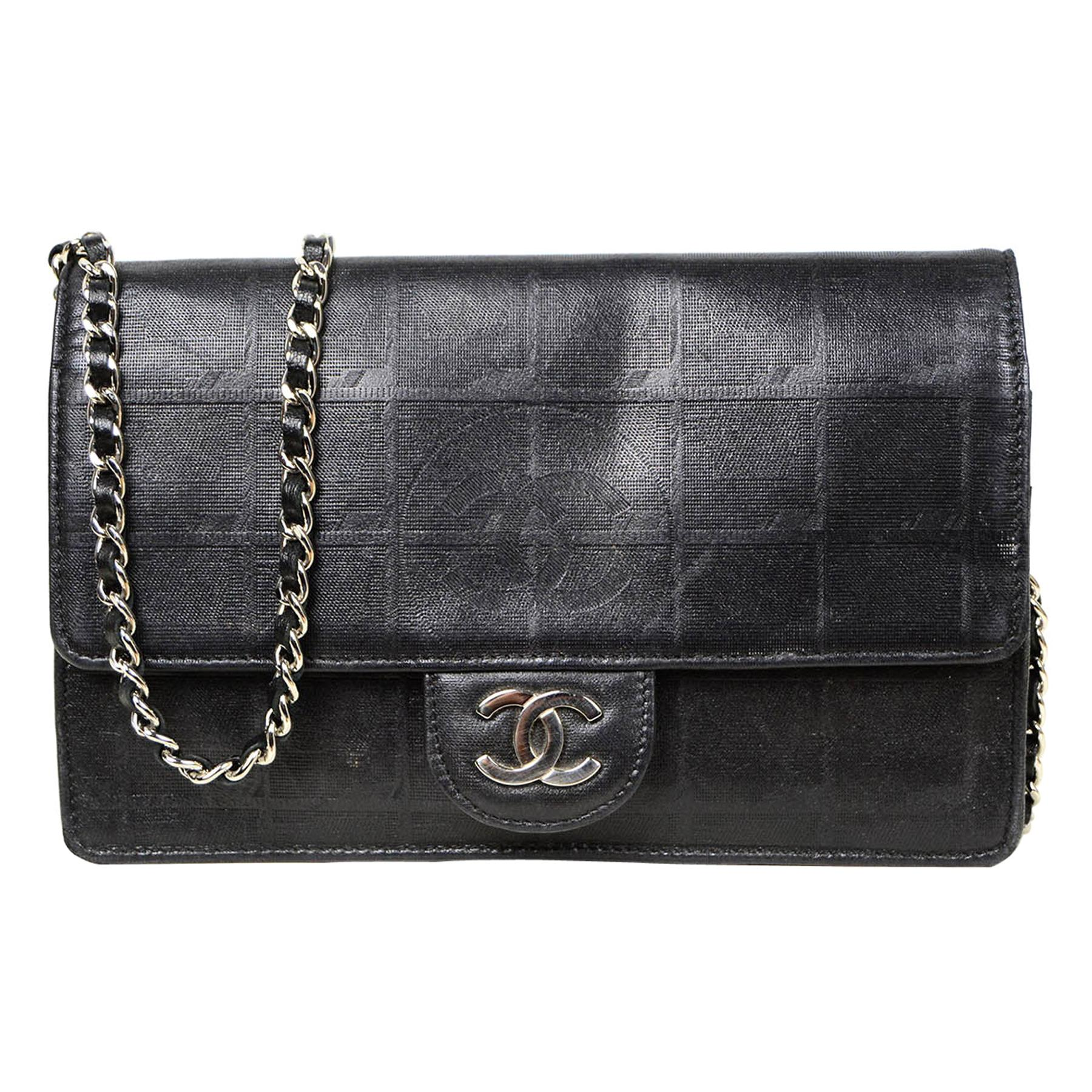Chanel Metallic Black Nylon Travel Ligne CC Wallet on Chain WOC Crossbody Bag