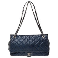 Chanel Metallic Blue Caviar Leather Easy Flap Bag