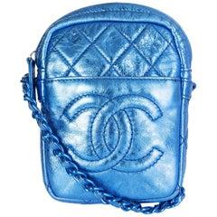 Chanel metallic blue MODERN CHAIN SMALL CAMERA Crossbody Shoulder Bag