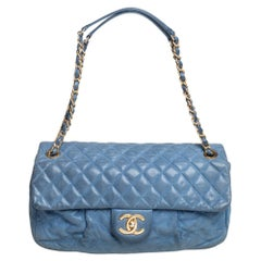 Chanel Metallic Blue Quilted Leather Chic Quilt Flap Bag
