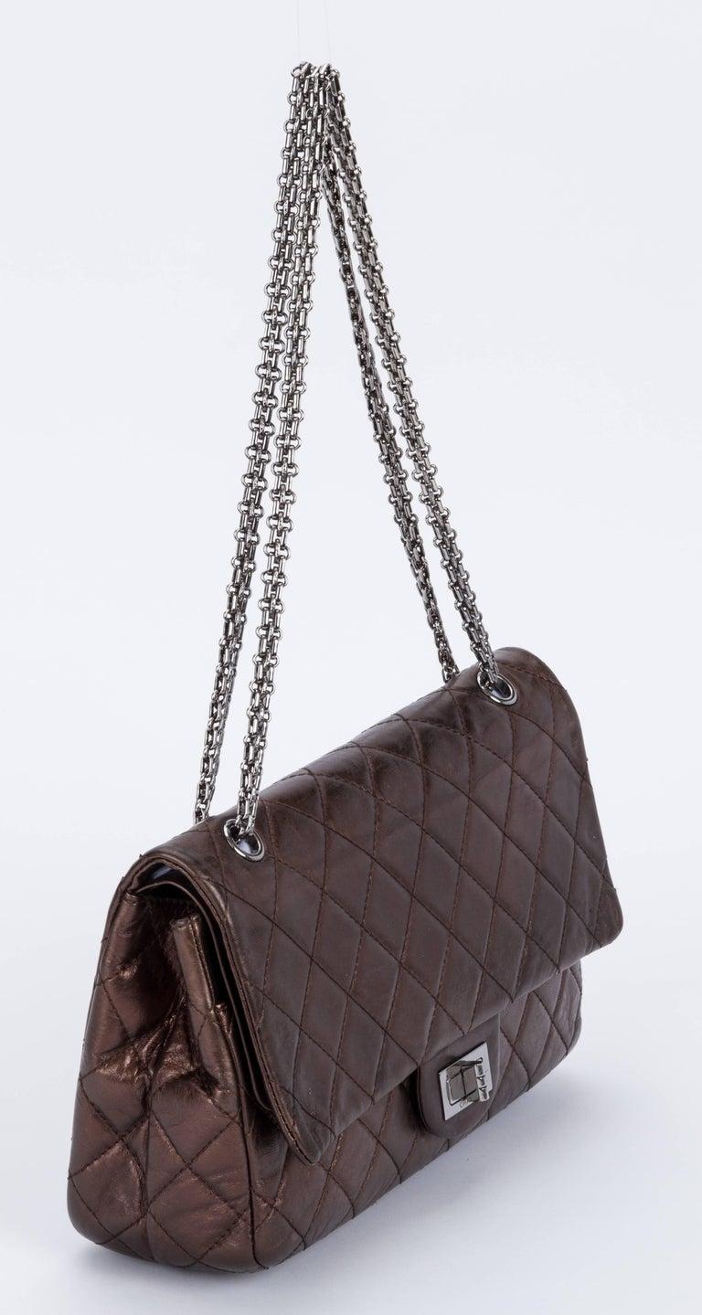 Chanel bronze metallic 2.55 reissue jumbo classic flap bag. Ruthenium hardware. Shoulder drop, 9.5