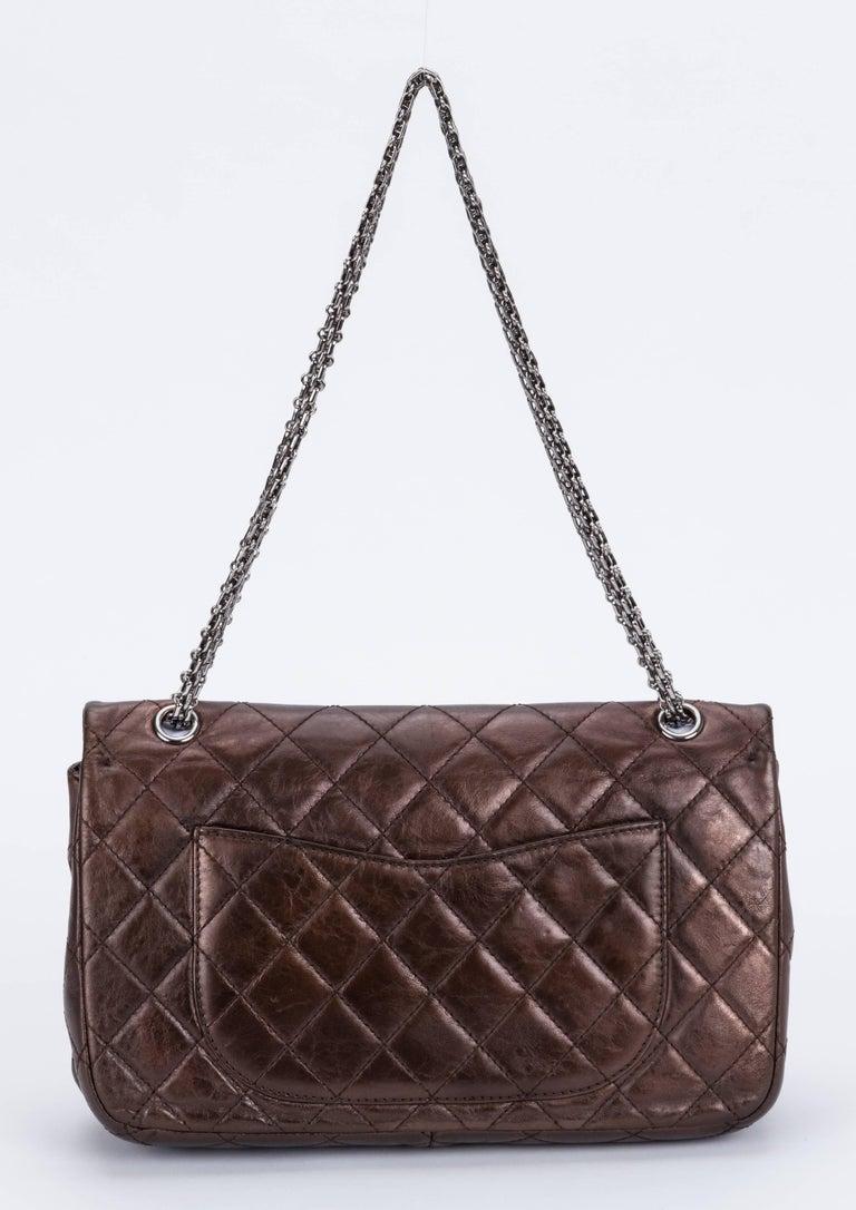 Black Chanel Metallic Bronze Jumbo Reissue Bag For Sale