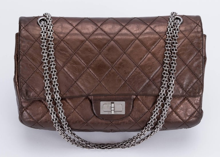 Chanel Metallic Bronze Jumbo Reissue Bag In Excellent Condition For Sale In West Hollywood, CA
