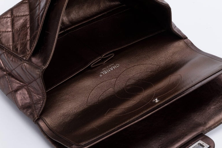 Chanel Metallic Bronze Jumbo Reissue Bag For Sale 4