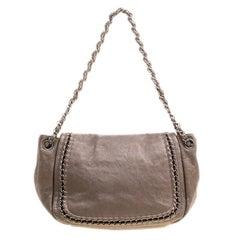 Chanel Metallic Bronze Leather Luxe Ligne Accordion Flap Bag
