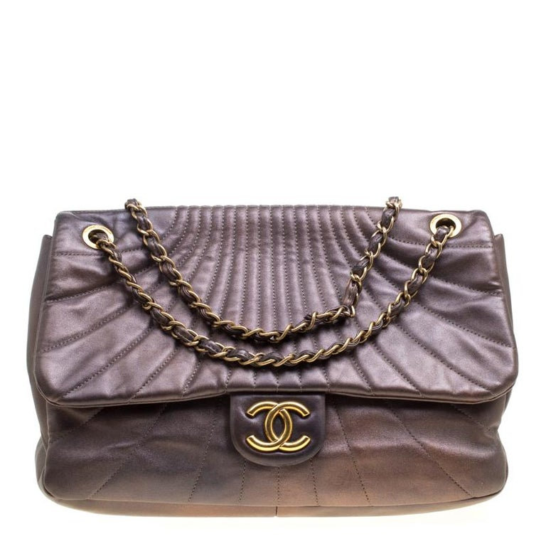 1edd0b591edef4 Chanel Metallic Brown Leather Classic Single Flap Bag For Sale at ...