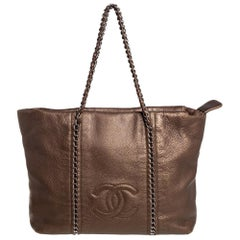 Chanel Metallic Brown Leather Medium Modern Chain Tote