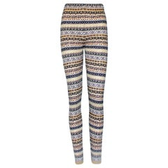 Chanel Metallic Cashmere Fair Isle Intarsia Knit CC Logo Leggings Pants