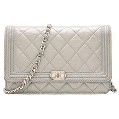 Chanel Metallic Caviar Aged Calfskin Leather Wallet on Chain