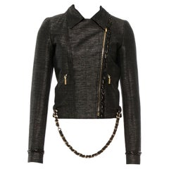 NEW Chanel Metallic Chain Detail Biker Jacket with Detachable Chain Belt