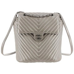 Chanel Metallic Chevron Calf Leather Drawstring Backpack