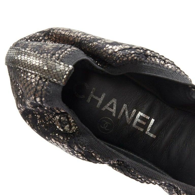 CHANEL metallic copper black print stretch fit flat ballerina flats EU36.5C For Sale 5