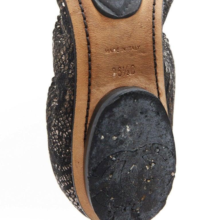CHANEL metallic copper black print stretch fit flat ballerina flats EU36.5C For Sale 6