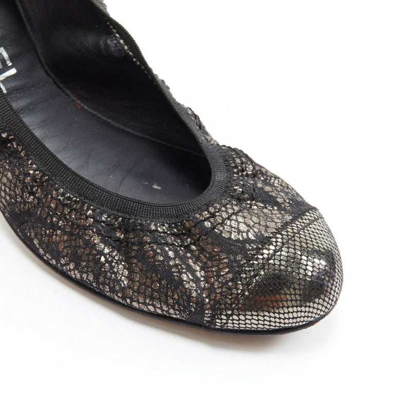 CHANEL metallic copper black print stretch fit flat ballerina flats EU36.5C  CHANEL Metallic copper printed fabric upper. Rounded toe. Stretch fit ballerina. Quilted rubber sole. Made in Italy  SIZING Designer size: EU36.5 Size reference: EU36.5 /