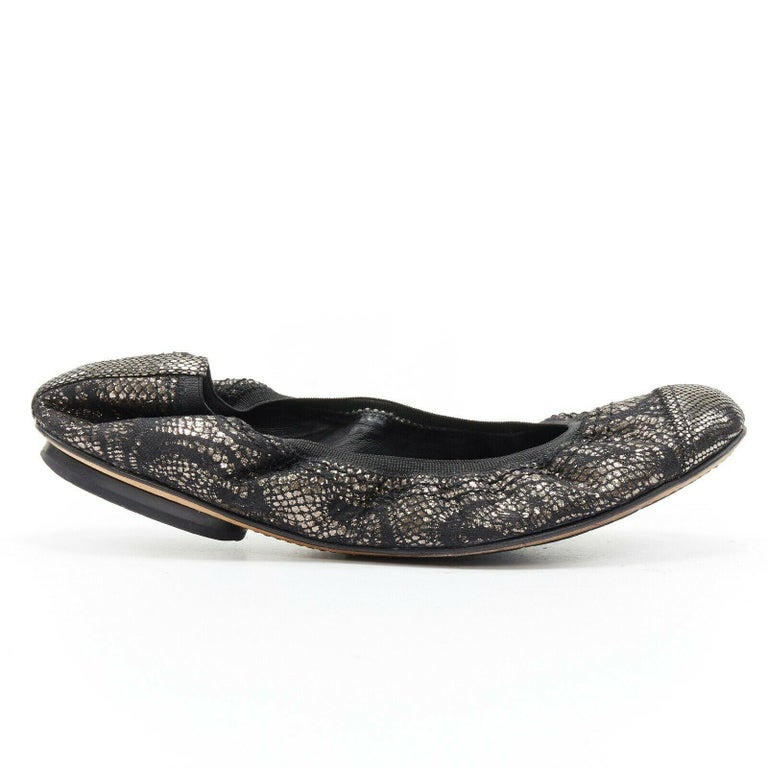 Black CHANEL metallic copper black print stretch fit flat ballerina flats EU36.5C For Sale