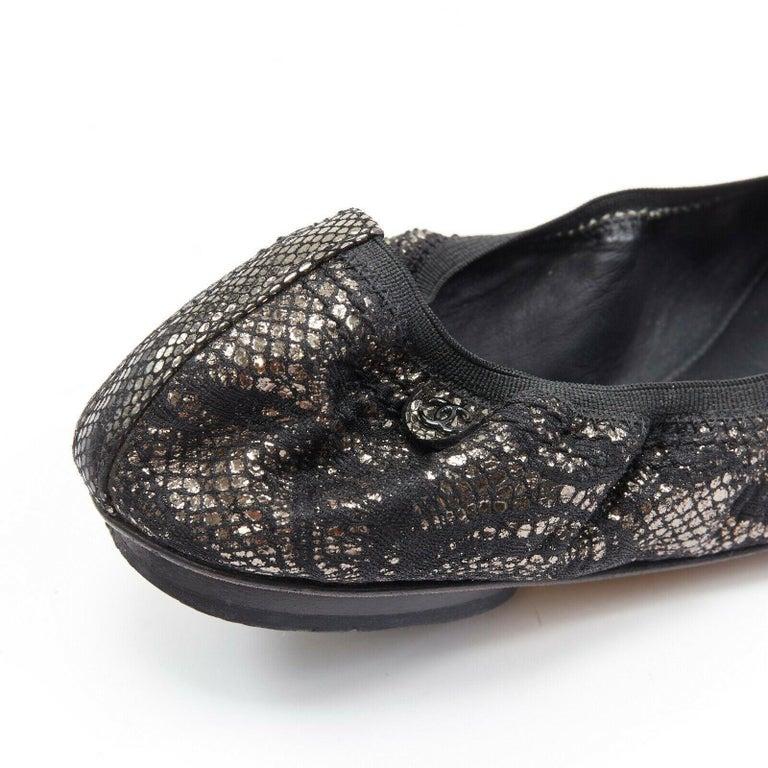 CHANEL metallic copper black print stretch fit flat ballerina flats EU36.5C For Sale 3