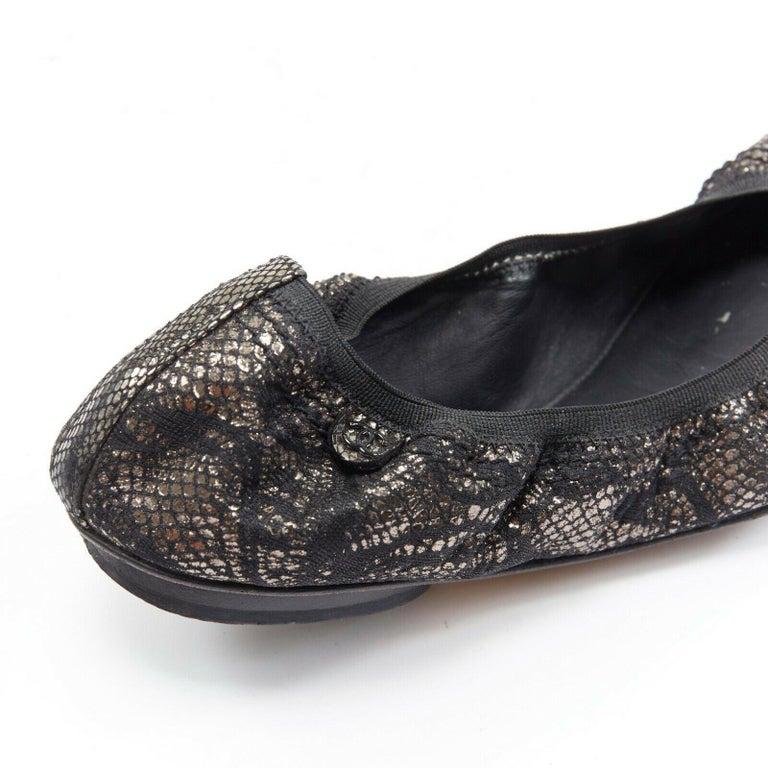 CHANEL metallic copper black print stretch fit flat ballerina flats EU36.5C For Sale 4