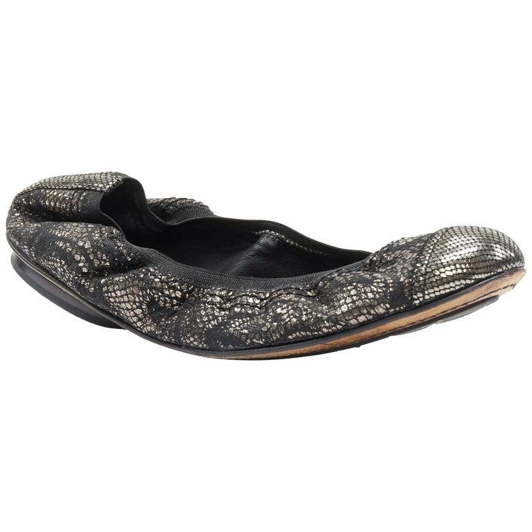 CHANEL metallic copper black print stretch fit flat ballerina flats EU36.5C For Sale