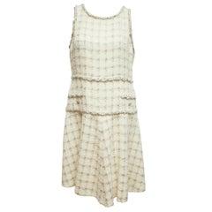 Chanel Metallic Cream Tweed Shift Dress