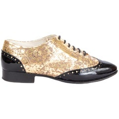 CHANEL metallic gold Brogue Oxford Flats Shoes 39.5
