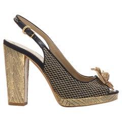 CHANEL metallic gold camellia CC diamond stitch gold chunky heel sling EU35.5