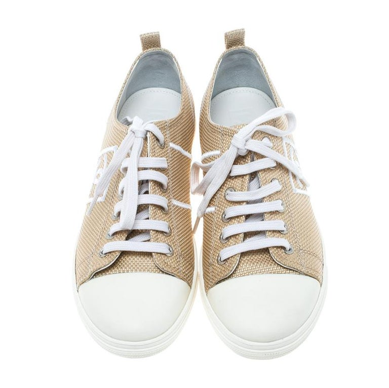 2fdbbded6b962 Chanel Metallic Gold Canvas Tennis CC Low Top Sneakers Size 36.5 In Good  Condition For Sale