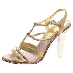 Chanel Metallic Gold CC Crystal Suede Lucite Heel Strappy Sandals Size 41