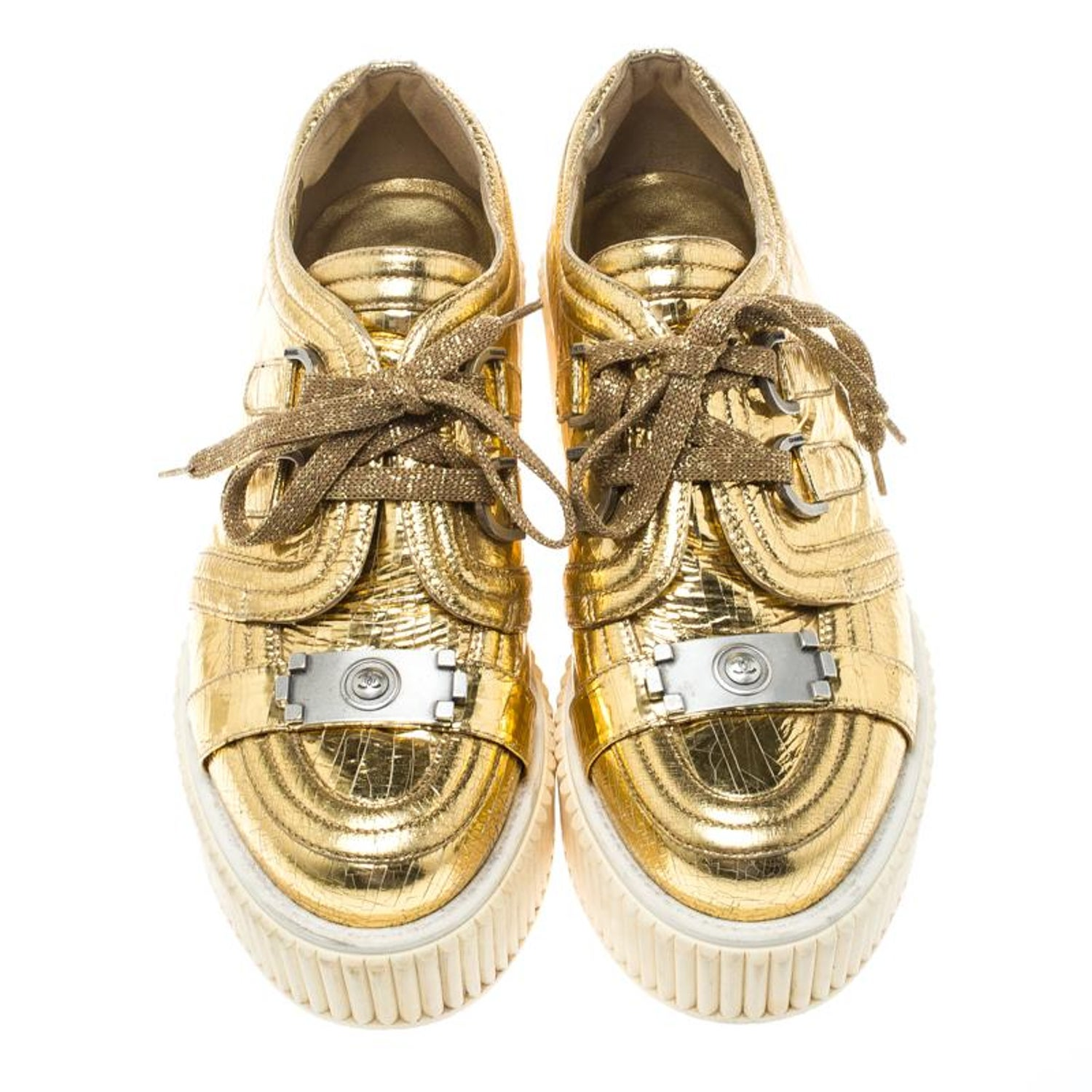 2c0ec514da33 Chanel Metallic Gold Distressed Foil Leather Creepers Platform Sneakers  Size 39. at 1stdibs