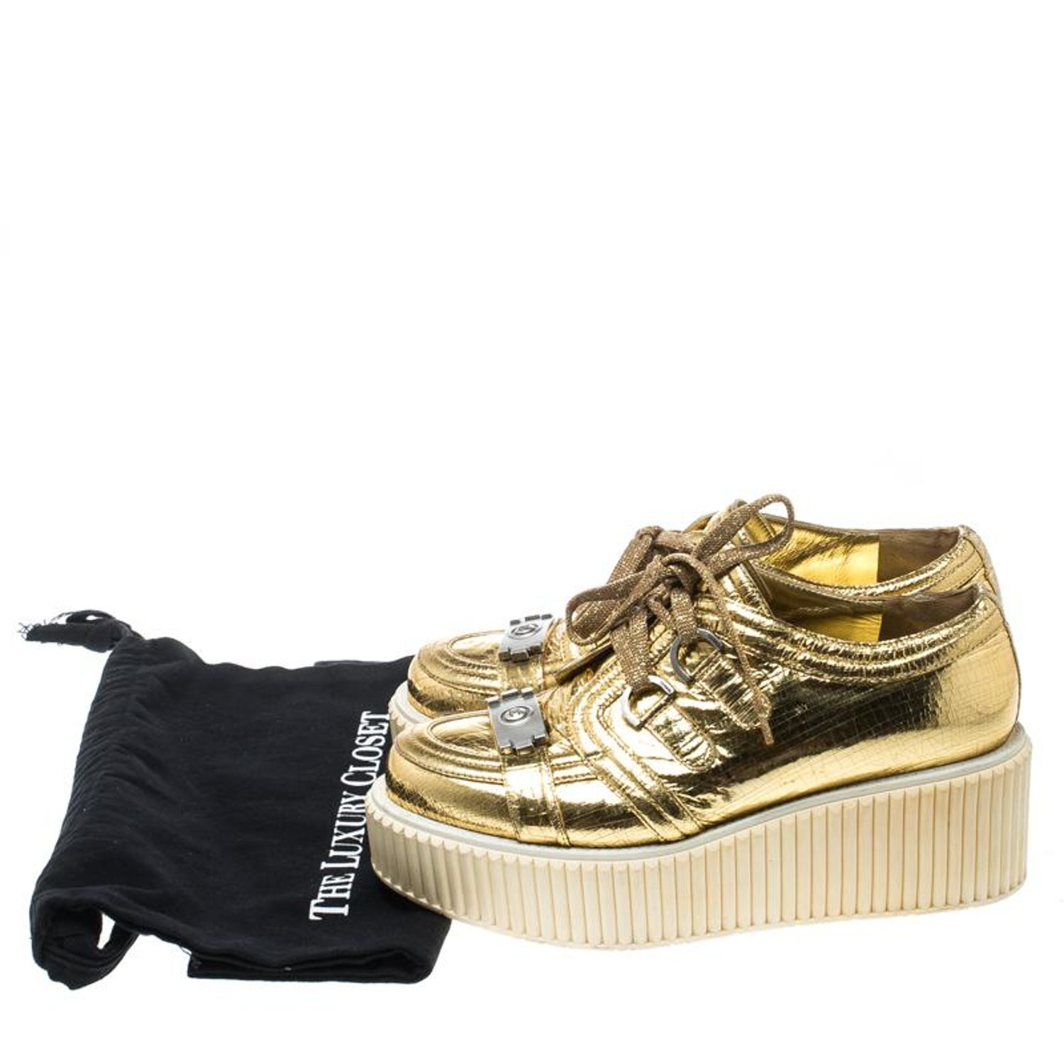17f4ee2f6f5 Chanel Metallic Gold Distressed Foil Leather Creepers Platform Sneakers  Size 39. at 1stdibs