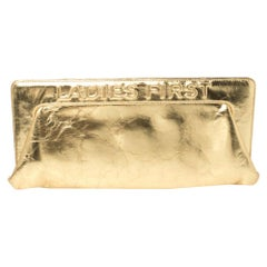 Chanel Metallic Gold Distressed Leather Ladies First Frame Clutch