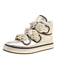 Chanel Metallic Gold Leather CC Camellia Flowers Embellished High Top Sneakers S