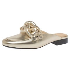 Chanel Metallic Gold Leather Chain Detail CC Flat Mules Size 37