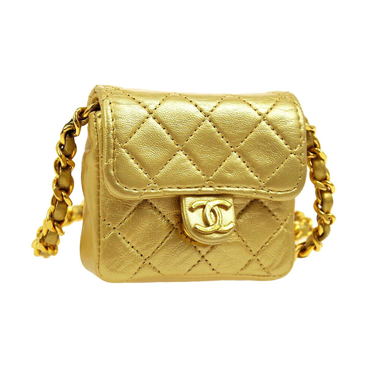 Chanel Metallic Gold Leather Evening Micro Mini Shoulder Flap Bag