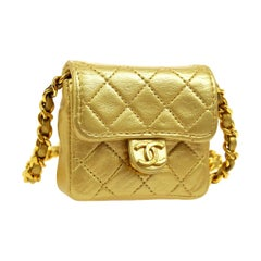 Chanel Metallic Gold Leather Evening Micro Mini Shoulder Flap Bag