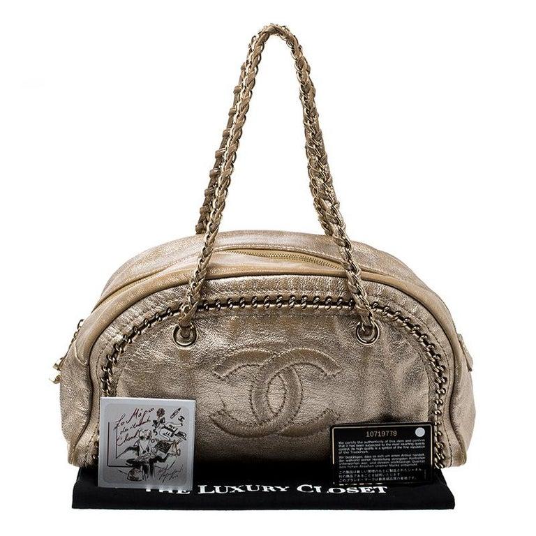 e102d1248c6f Chanel Metallic Gold Leather Medium Chain Trim Luxe Ligne Bowler Boston Bag  For Sale 7