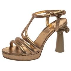 Chanel Metallic Gold Leather Parthenon Grecian Column Platform Sandals Size 38.5