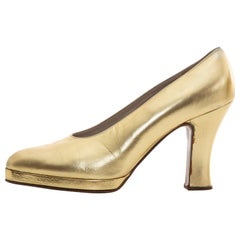 Chanel Metallic Gold Leder Pumps, Fall 1996