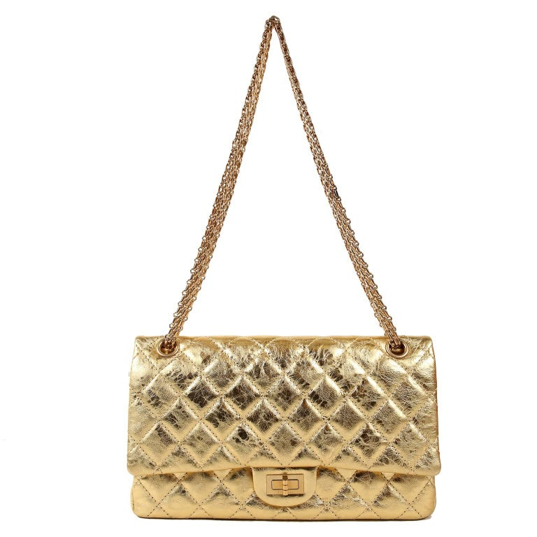 Chanel Metallic Gold Leather Reissue Flap Bag For Sale 9