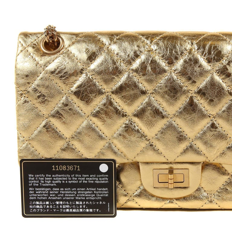 Chanel Metallic Gold Leather Reissue Flap Bag For Sale 10