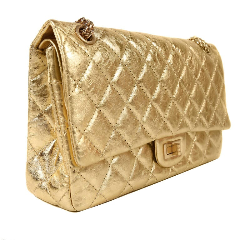 Chanel Metallic Gold Leather Reissue Flap Bag In Excellent Condition For Sale In Palm Beach, FL
