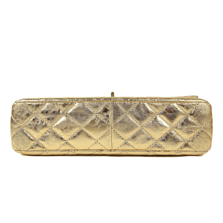 Women's Chanel Metallic Gold Leather Reissue Flap Bag For Sale
