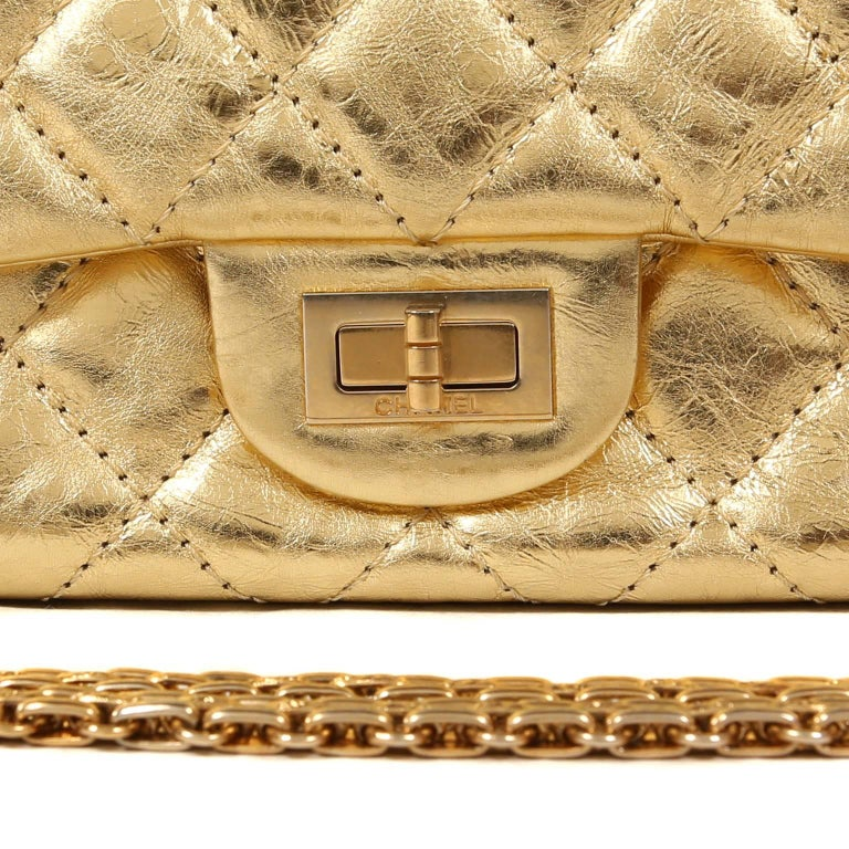 Chanel Metallic Gold Leather Reissue Flap Bag For Sale 2