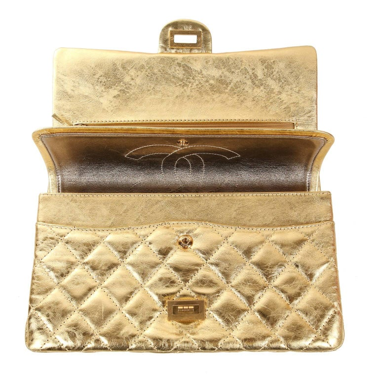 Chanel Metallic Gold Leather Reissue Flap Bag For Sale 3