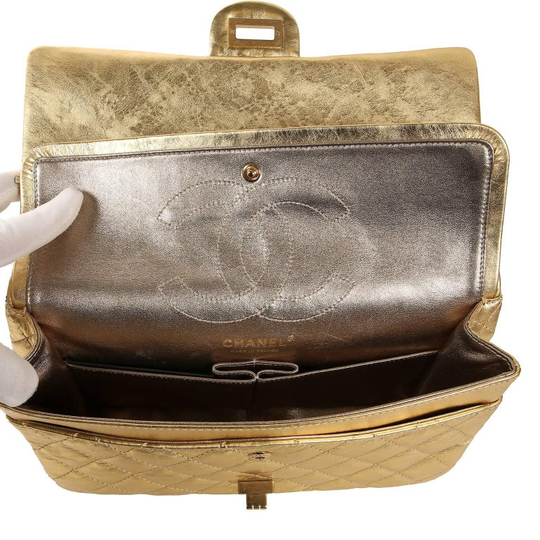 Chanel Metallic Gold Leather Reissue Flap Bag For Sale 4