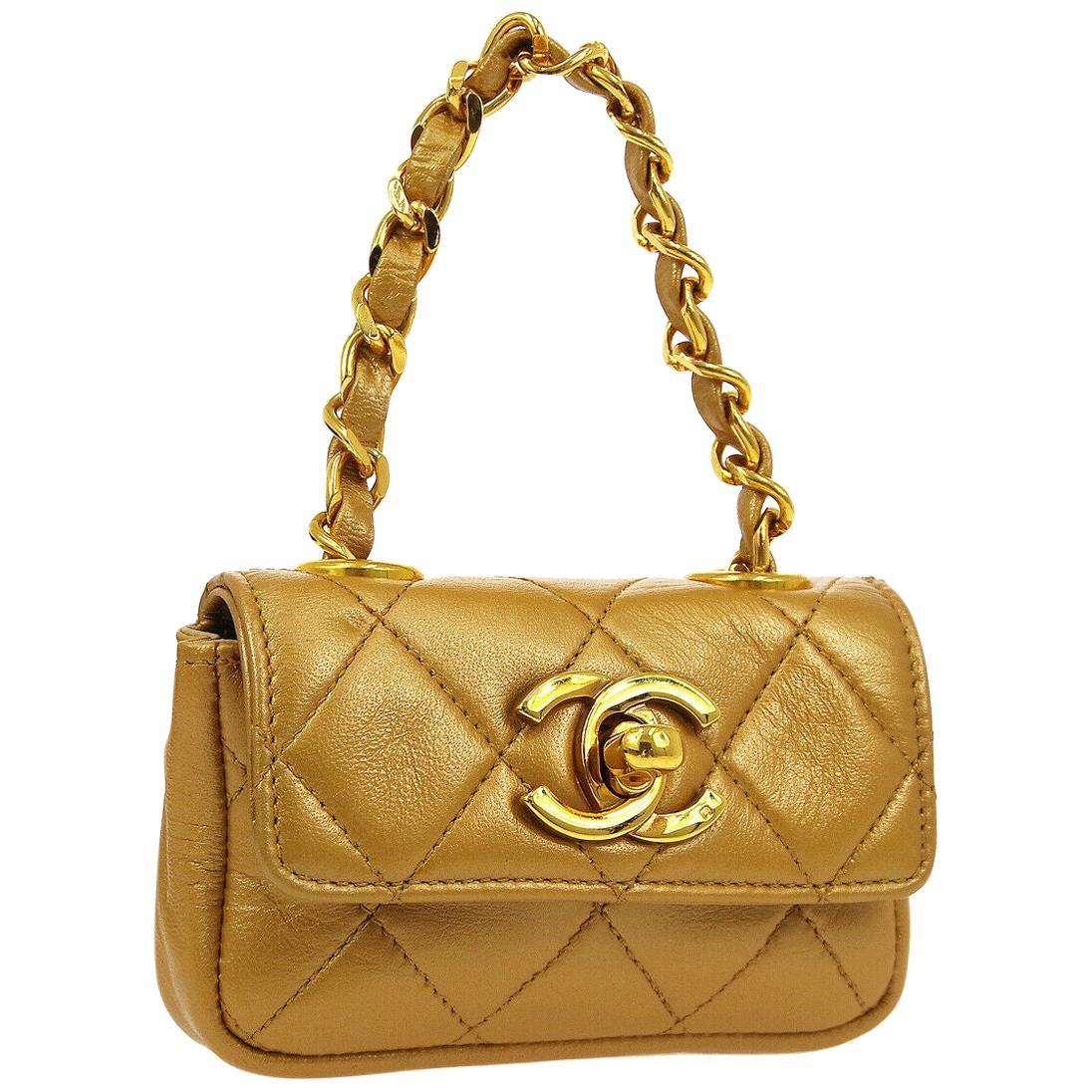 Chanel Metallic Gold Leather Small Mini Micro Top Handle Flap Bag in Box