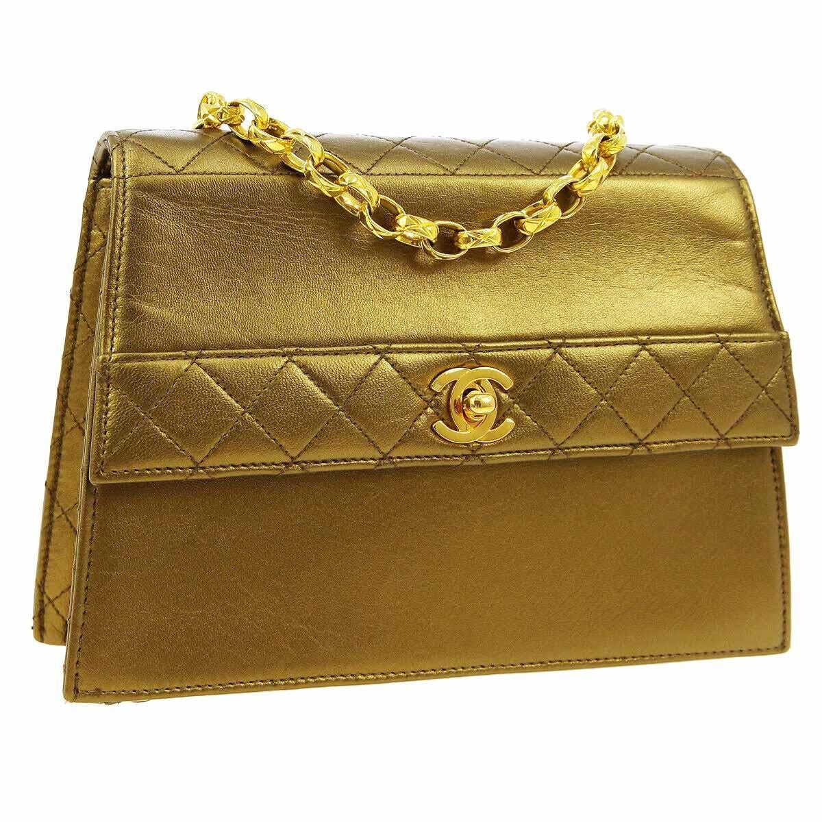 Chanel Metallic Gold Leather Small Party Evening Kelly Box Shoulder Flap Bag