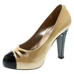 Chanel Metallic Gold Patent Leather Iridescent Cap Toe Platform Pumps Size 37