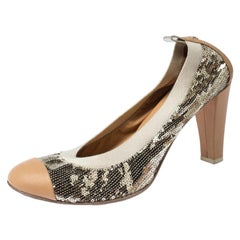 Chanel Metallic Gold Sequin And Beige Leather Embellished Cap Toe Pumps Size 41