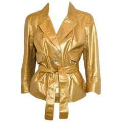 Chanel Metallic Gold Tone Leather Belted Jacket 44