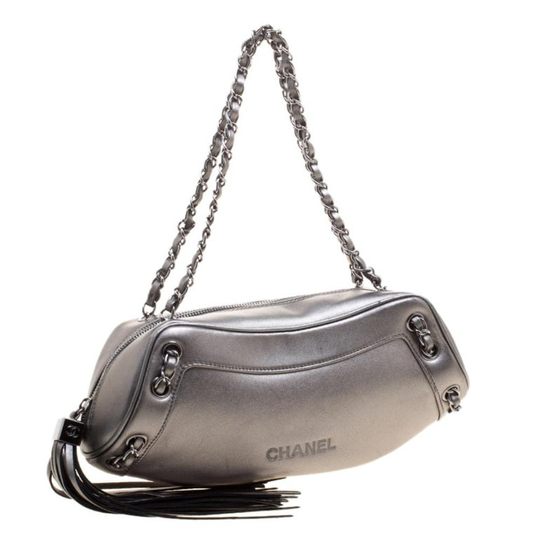 Women's Chanel Metallic Grey Leather Tassel Evening Bag For Sale